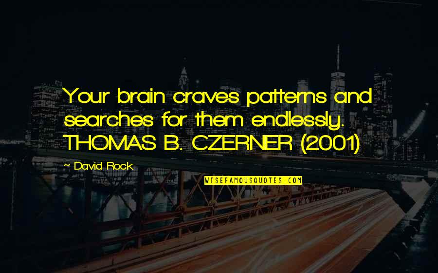 Searches Quotes By David Rock: Your brain craves patterns and searches for them