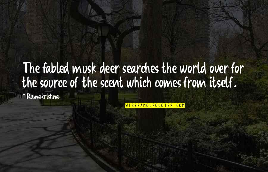 Searches Quotes By Ramakrishna: The fabled musk deer searches the world over