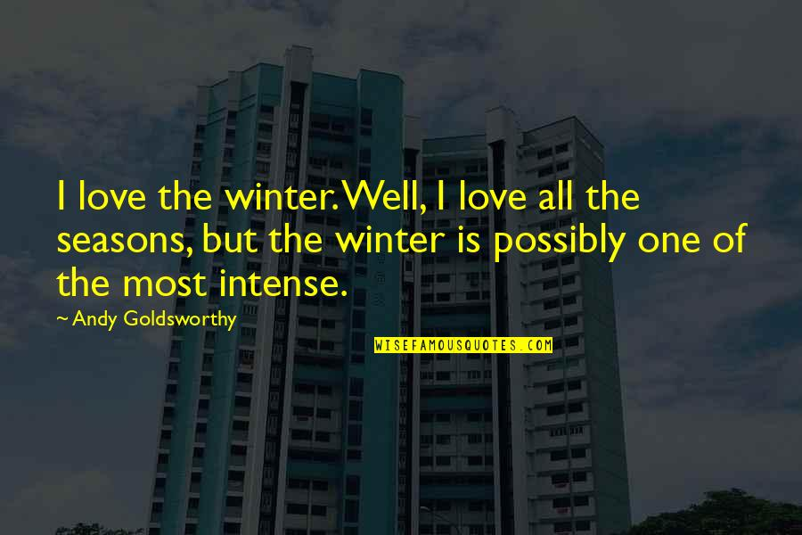 Seasons Of Love Quotes By Andy Goldsworthy: I love the winter. Well, I love all