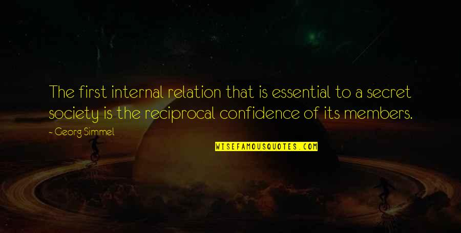 Secret Society Quotes By Georg Simmel: The first internal relation that is essential to