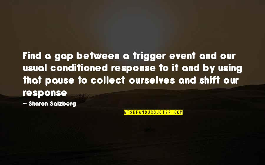 Secrets Between Friends Quotes By Sharon Salzberg: Find a gap between a trigger event and