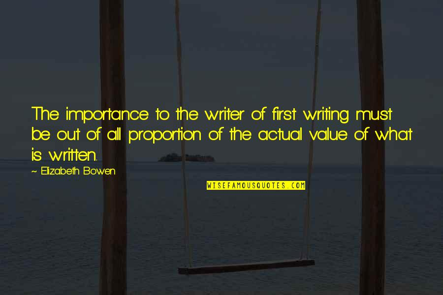 Security Guard Appreciation Quotes By Elizabeth Bowen: The importance to the writer of first writing