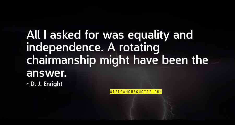 Security Intelligence Quotes By D. J. Enright: All I asked for was equality and independence.