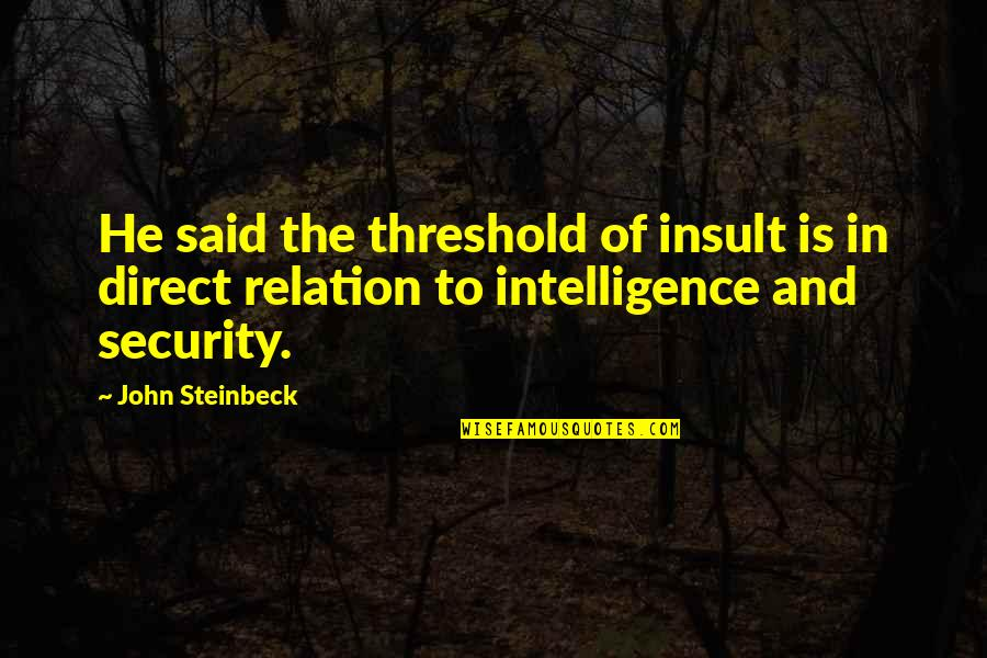 Security Intelligence Quotes By John Steinbeck: He said the threshold of insult is in