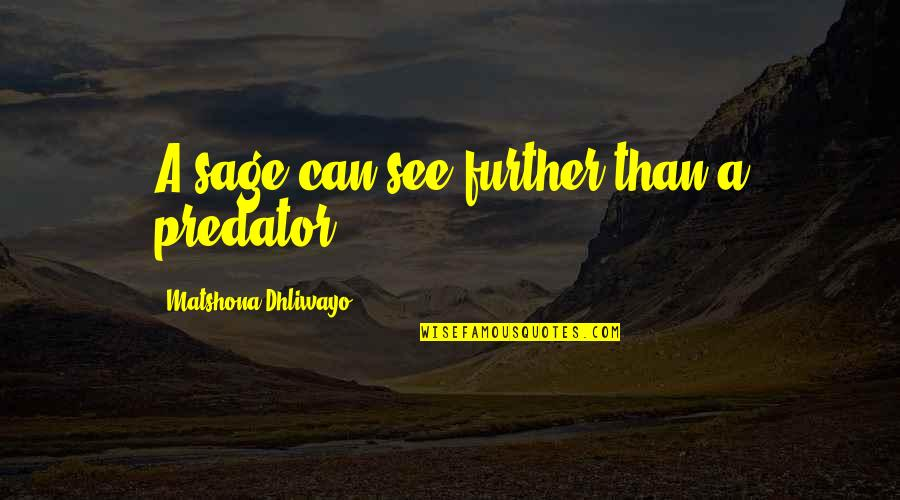 See Further Quotes By Matshona Dhliwayo: A sage can see further than a predator.