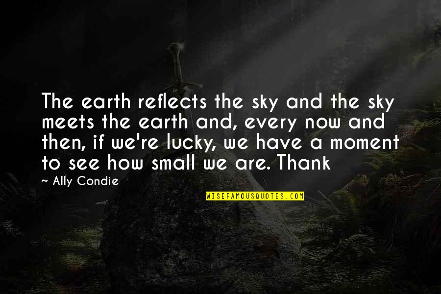 See Now Then Quotes By Ally Condie: The earth reflects the sky and the sky