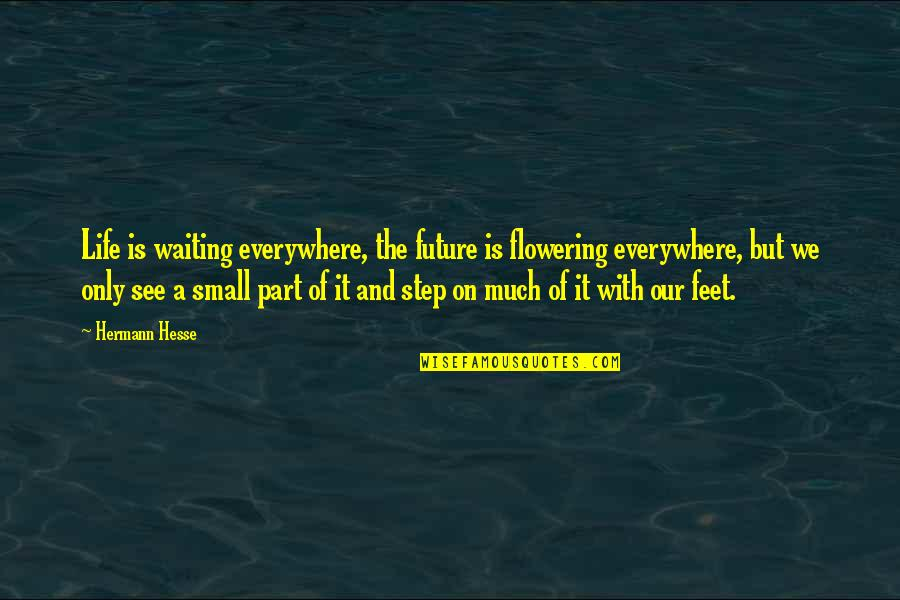 See The Future Quotes By Hermann Hesse: Life is waiting everywhere, the future is flowering
