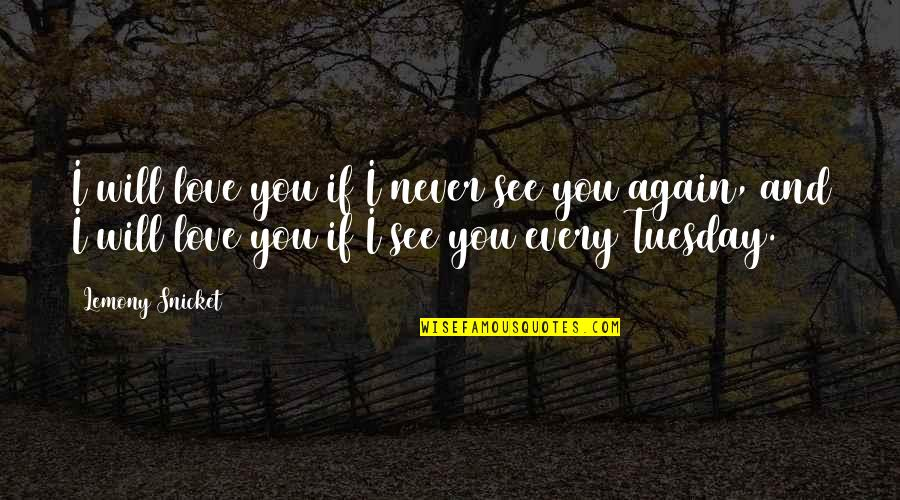 See You Again Love Quotes By Lemony Snicket: I will love you if I never see