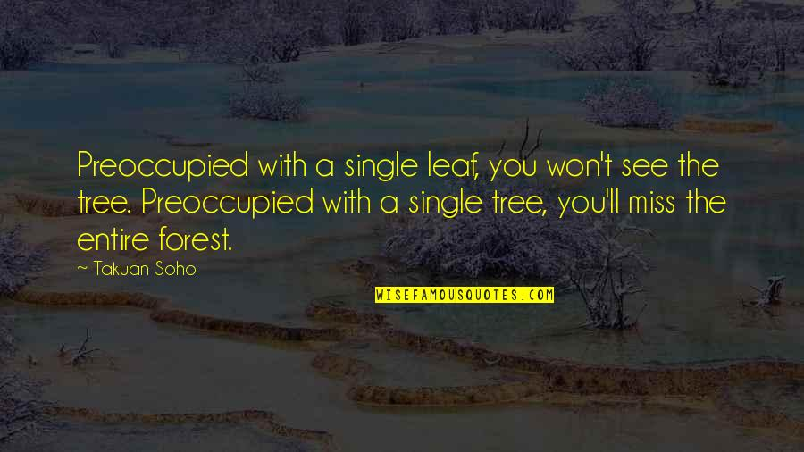 See You Quotes By Takuan Soho: Preoccupied with a single leaf, you won't see