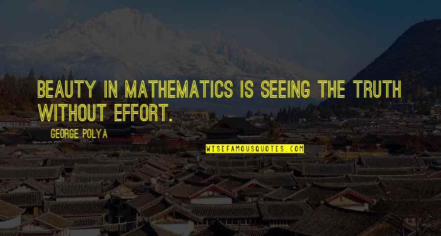 Seeing Beauty Quotes By George Polya: Beauty in mathematics is seeing the truth without