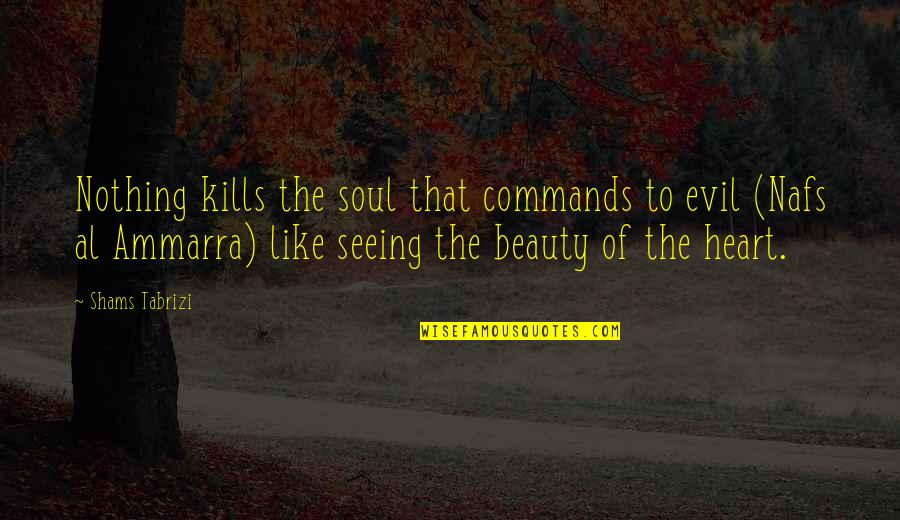 Seeing Beauty Quotes By Shams Tabrizi: Nothing kills the soul that commands to evil