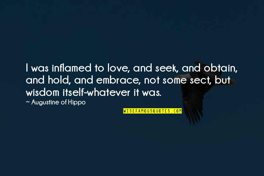 Seek Wisdom Quotes By Augustine Of Hippo: I was inflamed to love, and seek, and