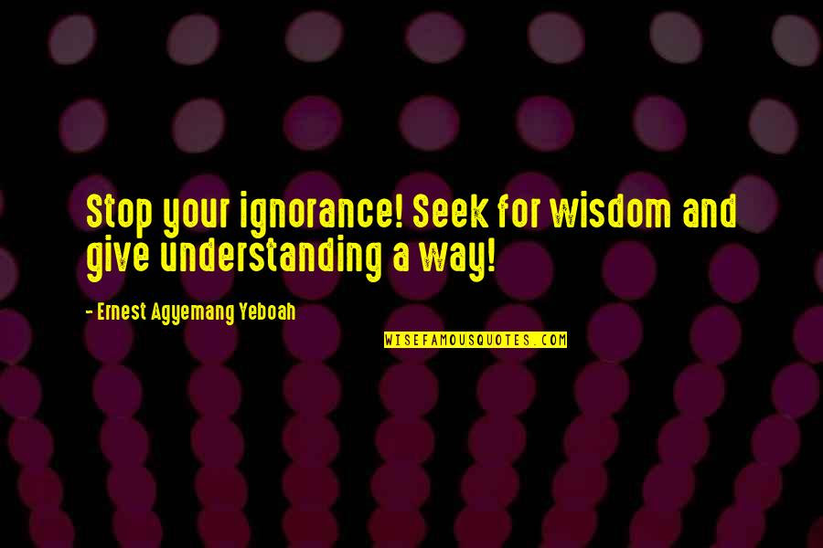 Seek Wisdom Quotes By Ernest Agyemang Yeboah: Stop your ignorance! Seek for wisdom and give