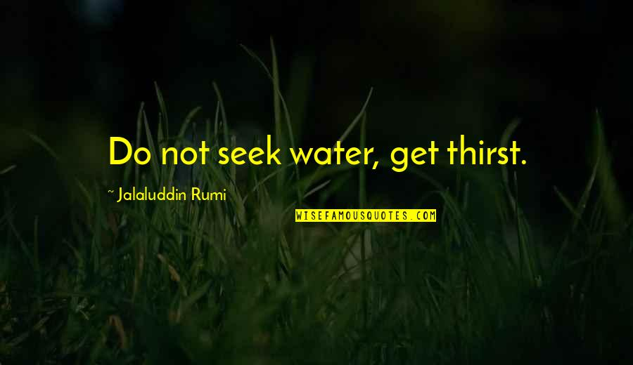 Seek Wisdom Quotes By Jalaluddin Rumi: Do not seek water, get thirst.