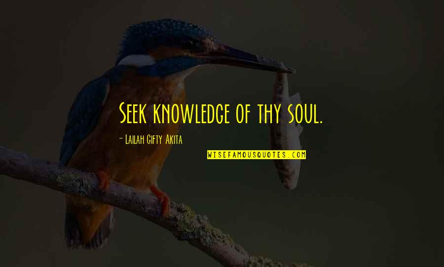 Seek Wisdom Quotes By Lailah Gifty Akita: Seek knowledge of thy soul.