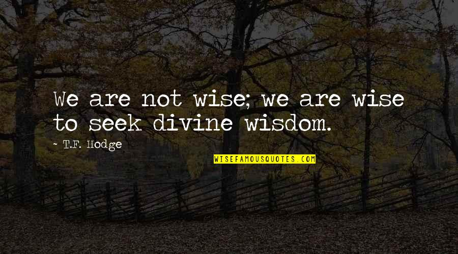 Seek Wisdom Quotes By T.F. Hodge: We are not wise; we are wise to
