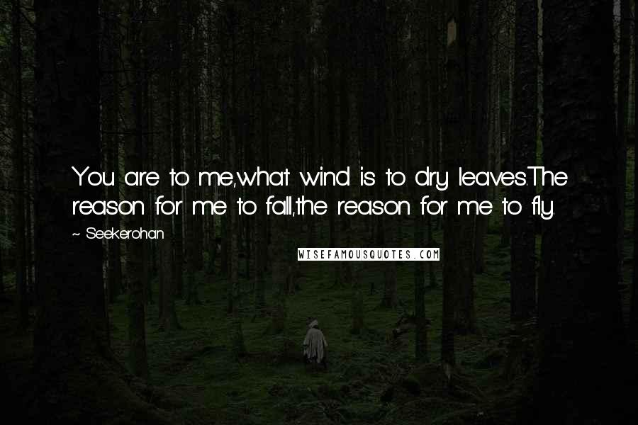 Seekerohan quotes: You are to me,what wind is to dry leaves.The reason for me to fall,the reason for me to fly.