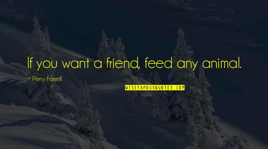 Seekes Quotes By Perry Farrell: If you want a friend, feed any animal.