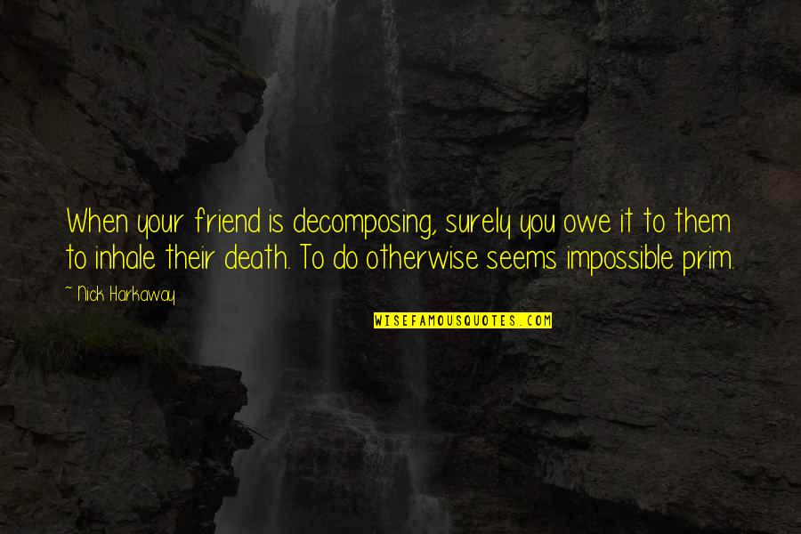 Seems Impossible Quotes By Nick Harkaway: When your friend is decomposing, surely you owe