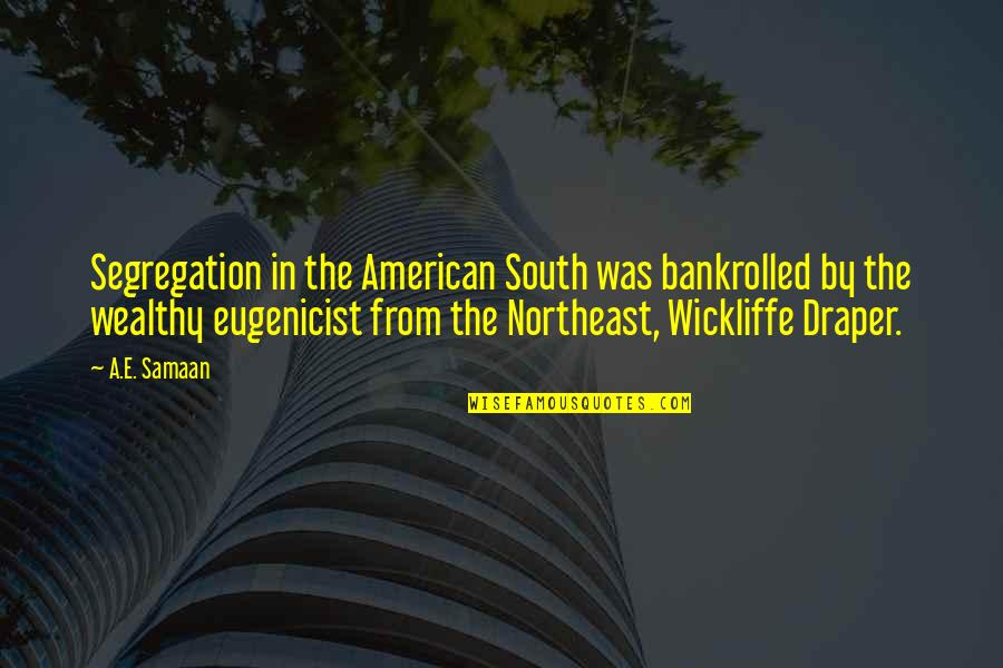 Segregation And Racism Quotes By A.E. Samaan: Segregation in the American South was bankrolled by