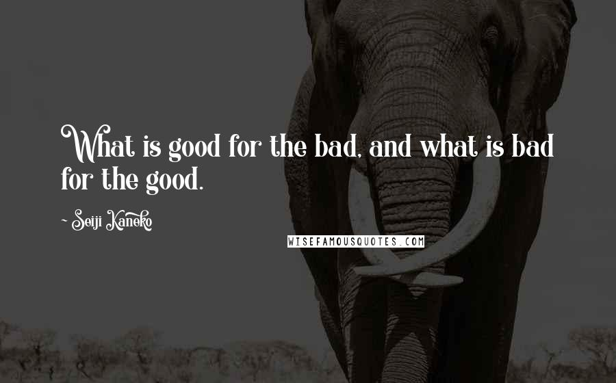 Seiji Kaneko quotes: What is good for the bad, and what is bad for the good.
