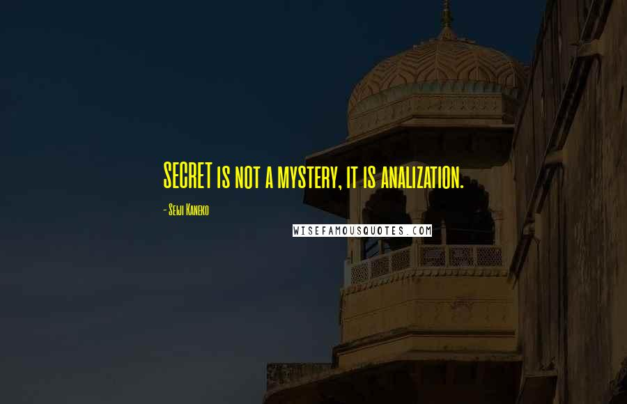 Seiji Kaneko quotes: SECRET is not a mystery, it is analization.