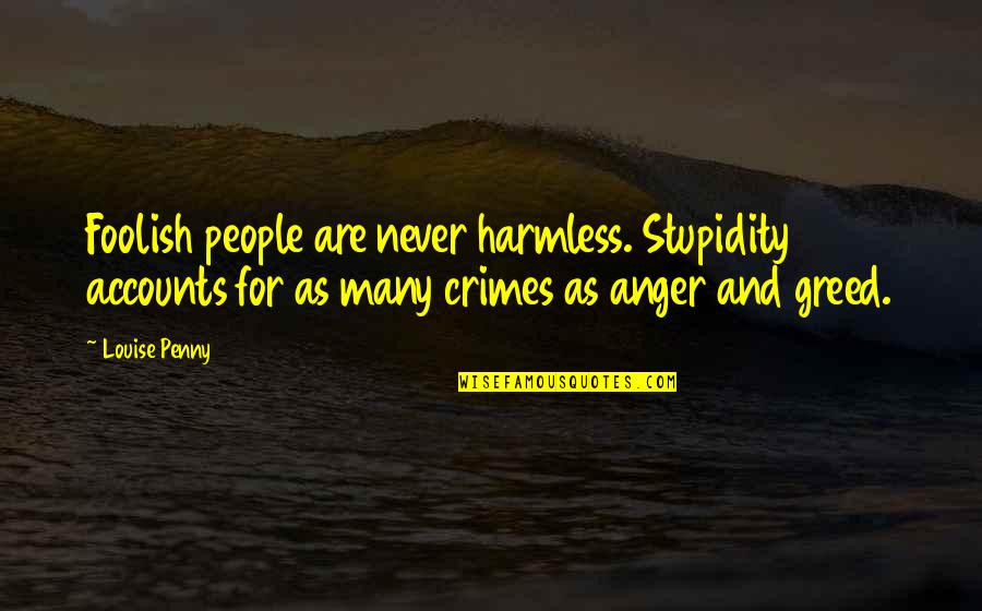 Seizing The Opportunity Quotes By Louise Penny: Foolish people are never harmless. Stupidity accounts for