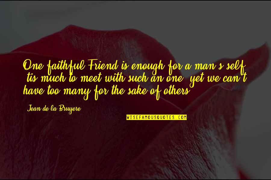 Self And Friends Quotes By Jean De La Bruyere: One faithful Friend is enough for a man's