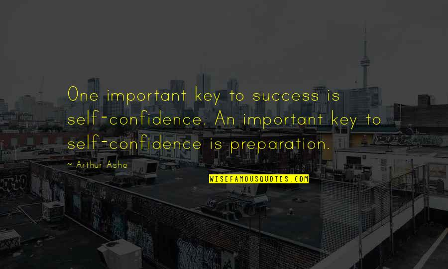 Self Confidence Quotes By Arthur Ashe: One important key to success is self-confidence. An