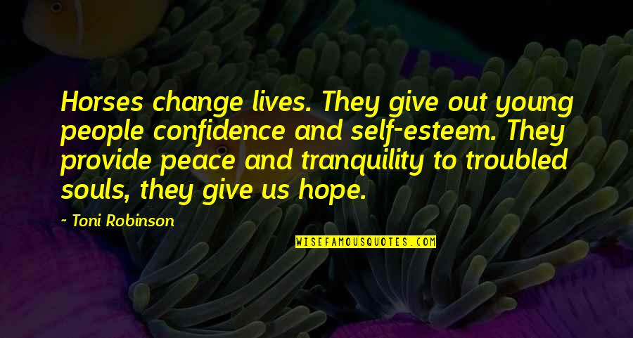 Self Confidence Quotes By Toni Robinson: Horses change lives. They give out young people