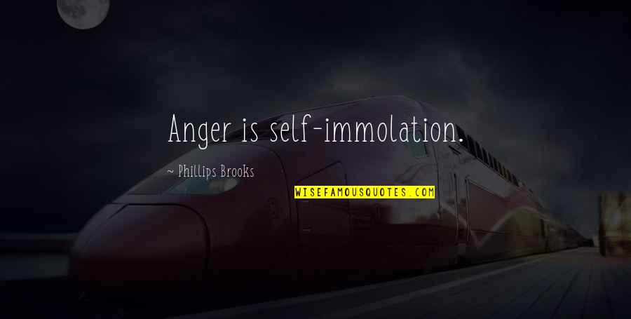 Self Immolation Quotes By Phillips Brooks: Anger is self-immolation.