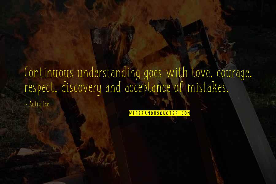 Self Improvement Success Quotes By Auliq Ice: Continuous understanding goes with love, courage, respect, discovery