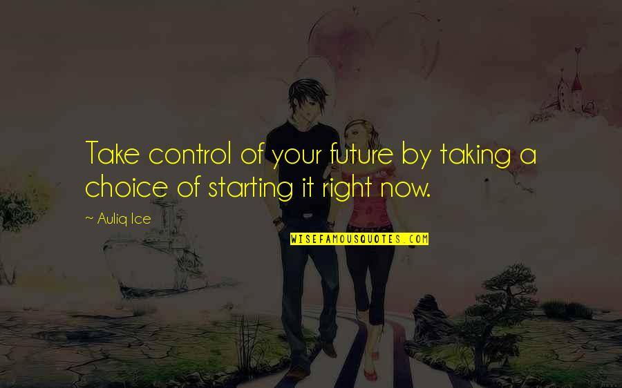 Self Improvement Success Quotes By Auliq Ice: Take control of your future by taking a