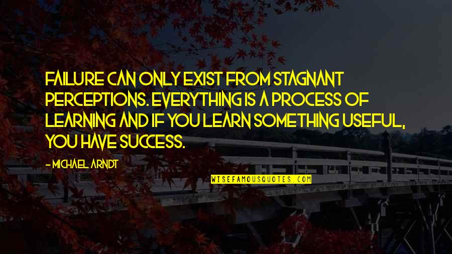 Self Improvement Success Quotes By Michael Arndt: Failure can only exist from stagnant perceptions. Everything
