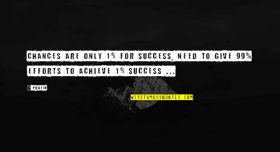 Self Improvement Success Quotes By Pratik: Chances are only 1% for success, need to