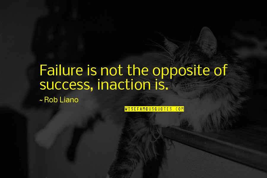 Self Improvement Success Quotes By Rob Liano: Failure is not the opposite of success, inaction