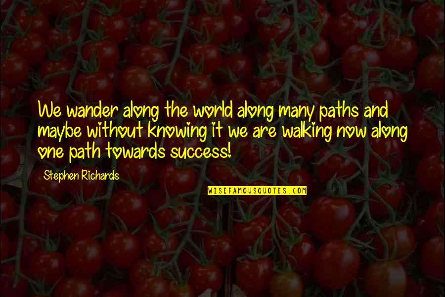 Self Improvement Success Quotes By Stephen Richards: We wander along the world along many paths