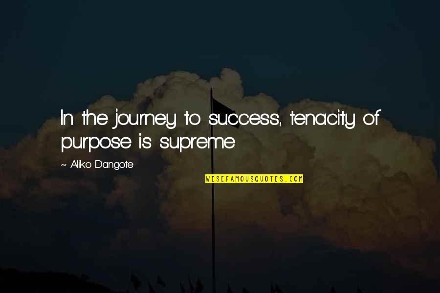 Semireligious Quotes By Aliko Dangote: In the journey to success, tenacity of purpose