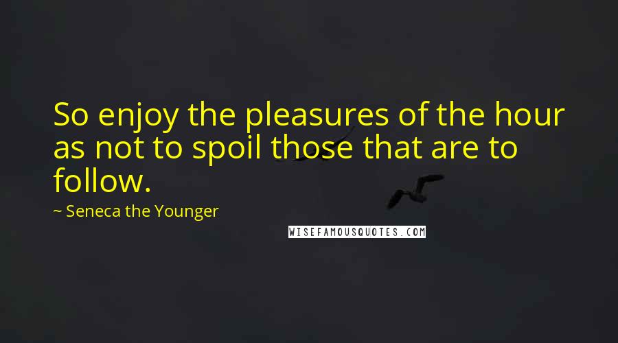 Seneca The Younger quotes: So enjoy the pleasures of the hour as not to spoil those that are to follow.
