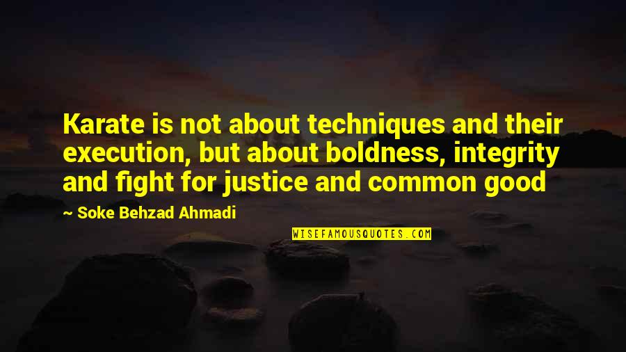 Sensei Quotes By Soke Behzad Ahmadi: Karate is not about techniques and their execution,