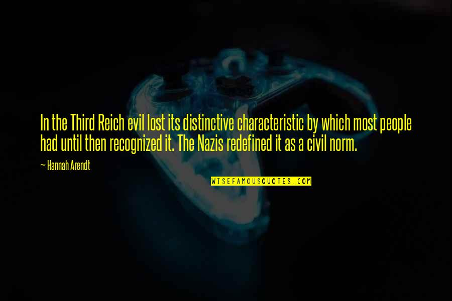 Senseless Crimes Quotes By Hannah Arendt: In the Third Reich evil lost its distinctive