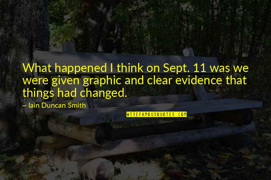 Sept 11 Quotes By Iain Duncan Smith: What happened I think on Sept. 11 was