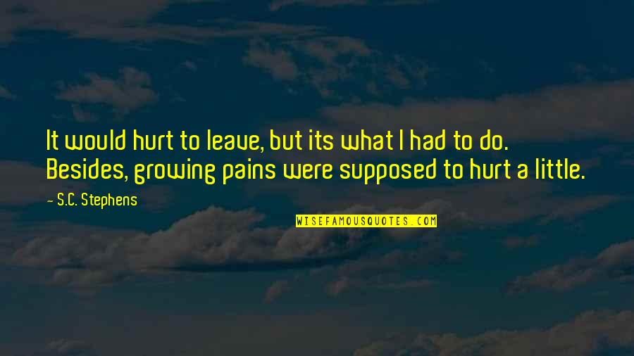 Sergei Kirov Quotes By S.C. Stephens: It would hurt to leave, but its what