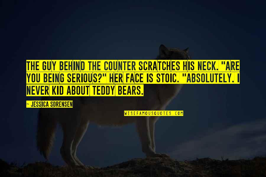 Serious Face Quotes By Jessica Sorensen: The guy behind the counter scratches his neck.