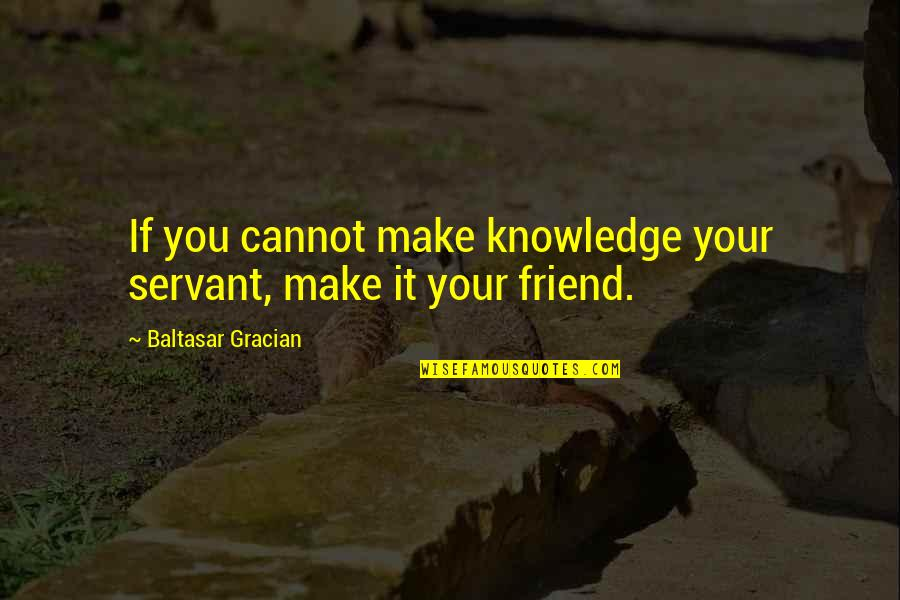 Servant Quotes By Baltasar Gracian: If you cannot make knowledge your servant, make
