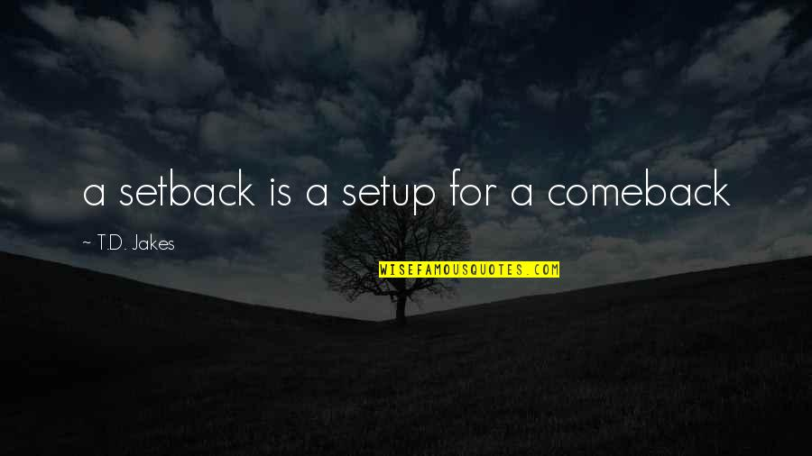 Setback Comeback Quotes By T.D. Jakes: a setback is a setup for a comeback
