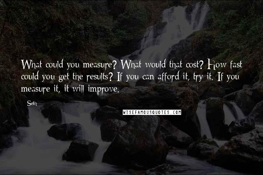 Seth quotes: What could you measure? What would that cost? How fast could you get the results? If you can afford it, try it. If you measure it, it will improve.