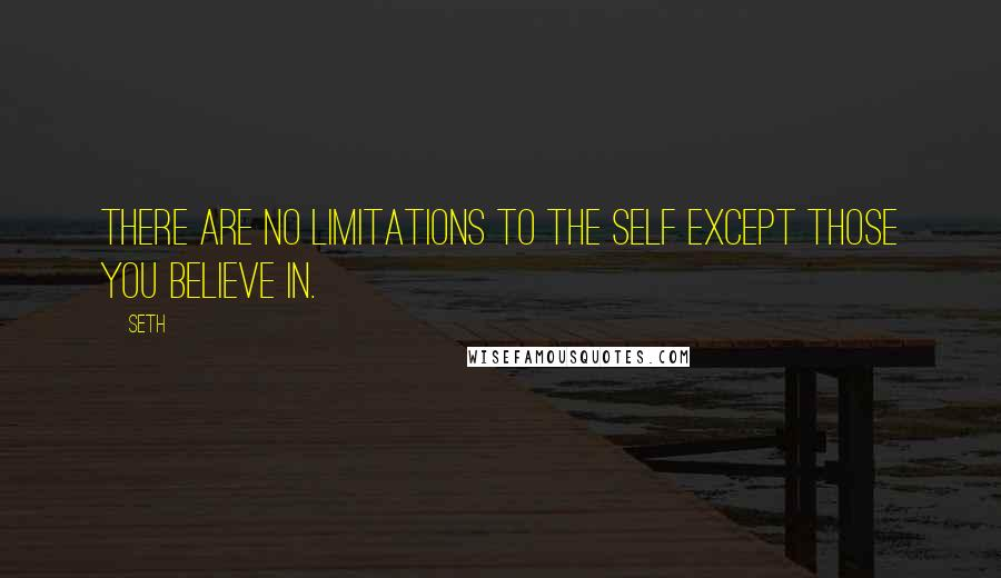 Seth quotes: There are no limitations to the self except those you believe in.