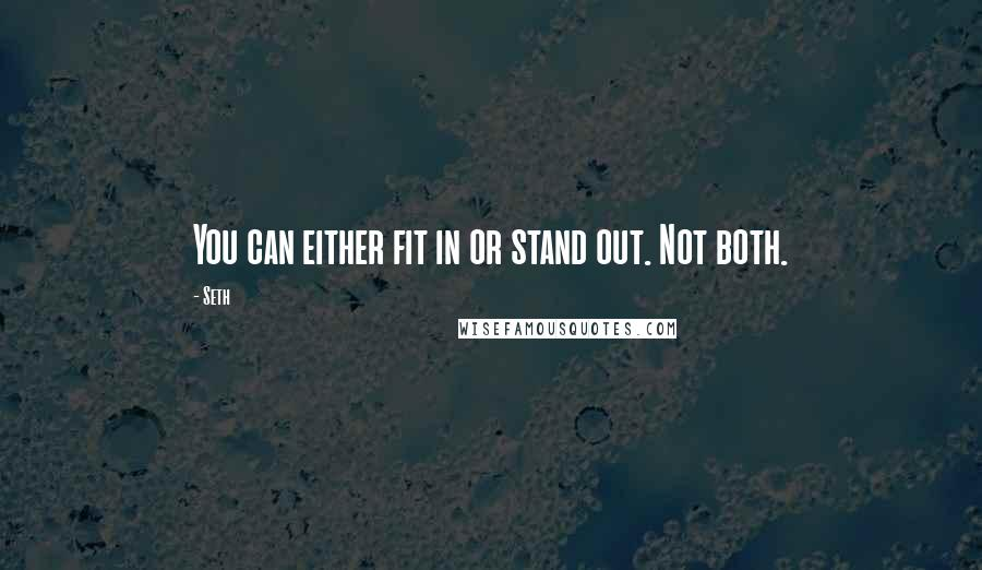Seth quotes: You can either fit in or stand out. Not both.