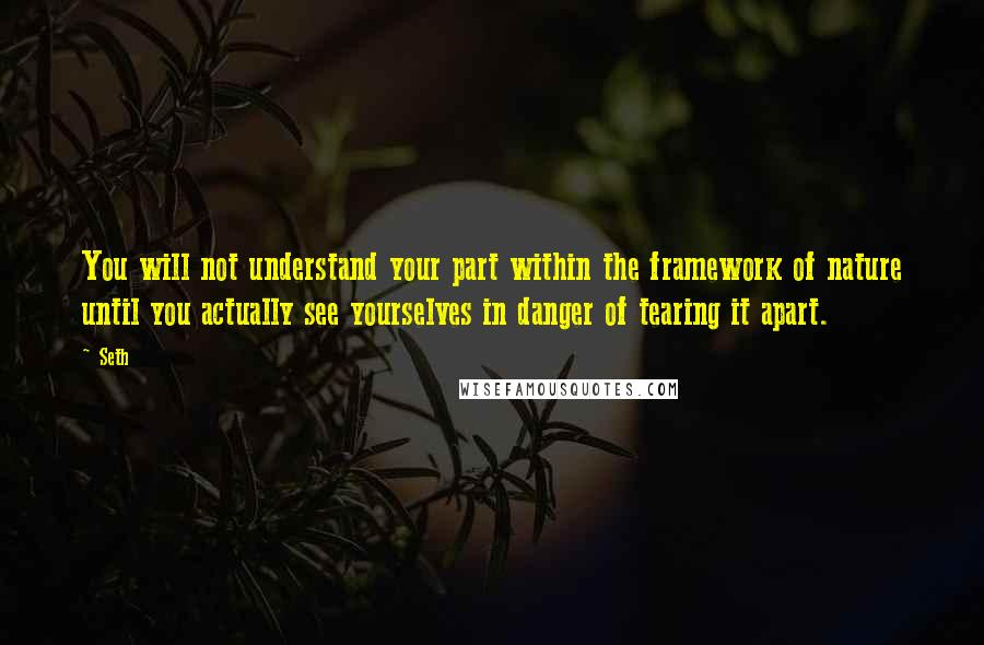 Seth quotes: You will not understand your part within the framework of nature until you actually see yourselves in danger of tearing it apart.